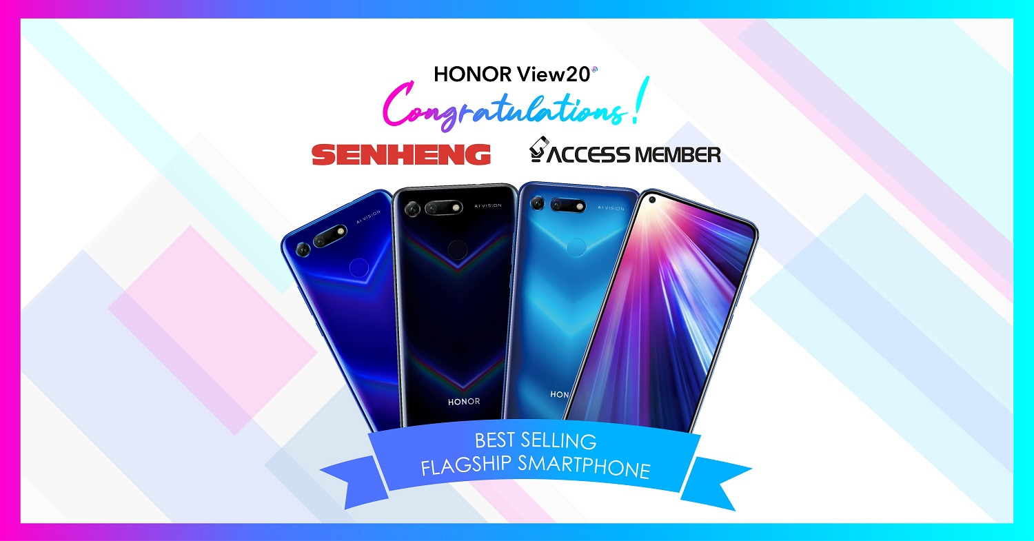 HONOR View20 Earns 'Best Selling Flagship Smartphone' Spot on Senheng and Access Member