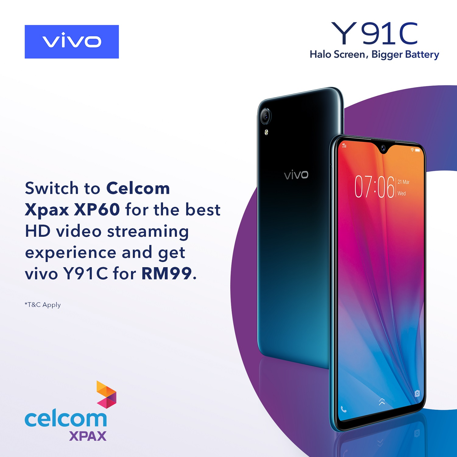 You Can Now Grab a Vivo Y91C for RM99 with Celcom Xpax